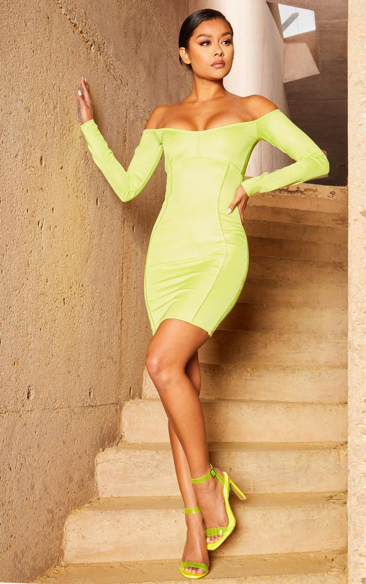Lime Second Skin Bardot Binding Detail Bodycon Dress 4
