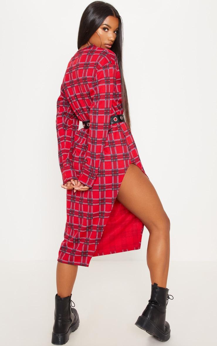 Red Tartan Print Midi Jumper Dress 2