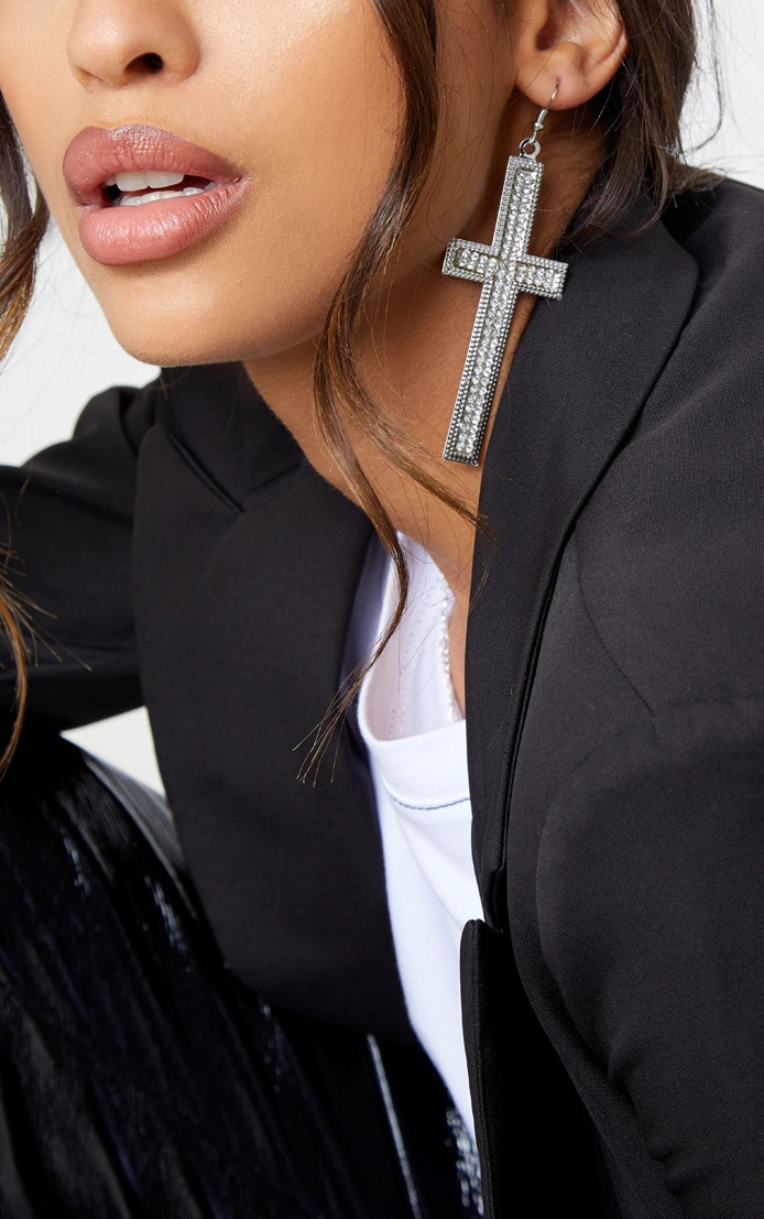 silver-large-cross-drop-earring by prettylittlething