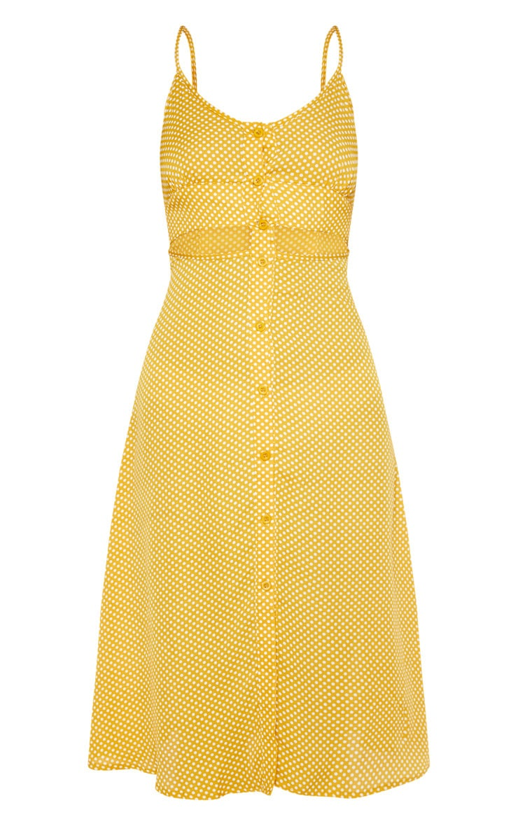 Mustard Printed Button Up Cut Out Midi Dress 3