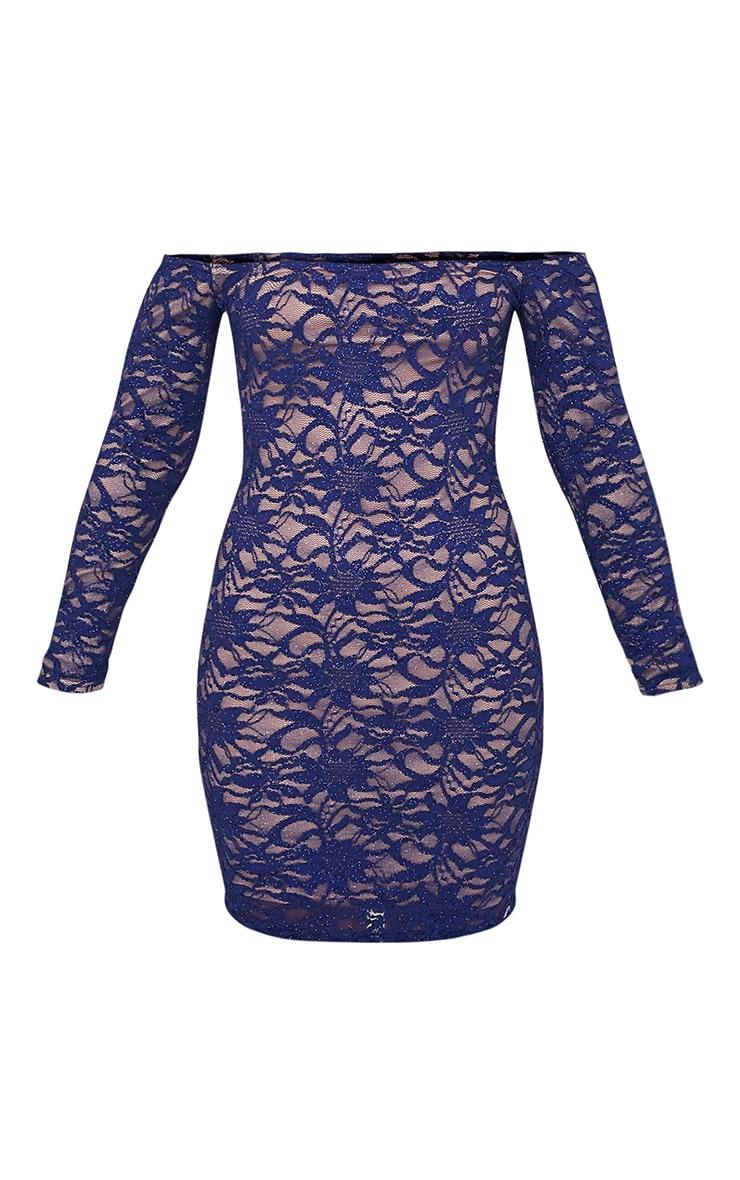 Lorinia Blue Glitter Lace Bardot Bodycon Dress 5