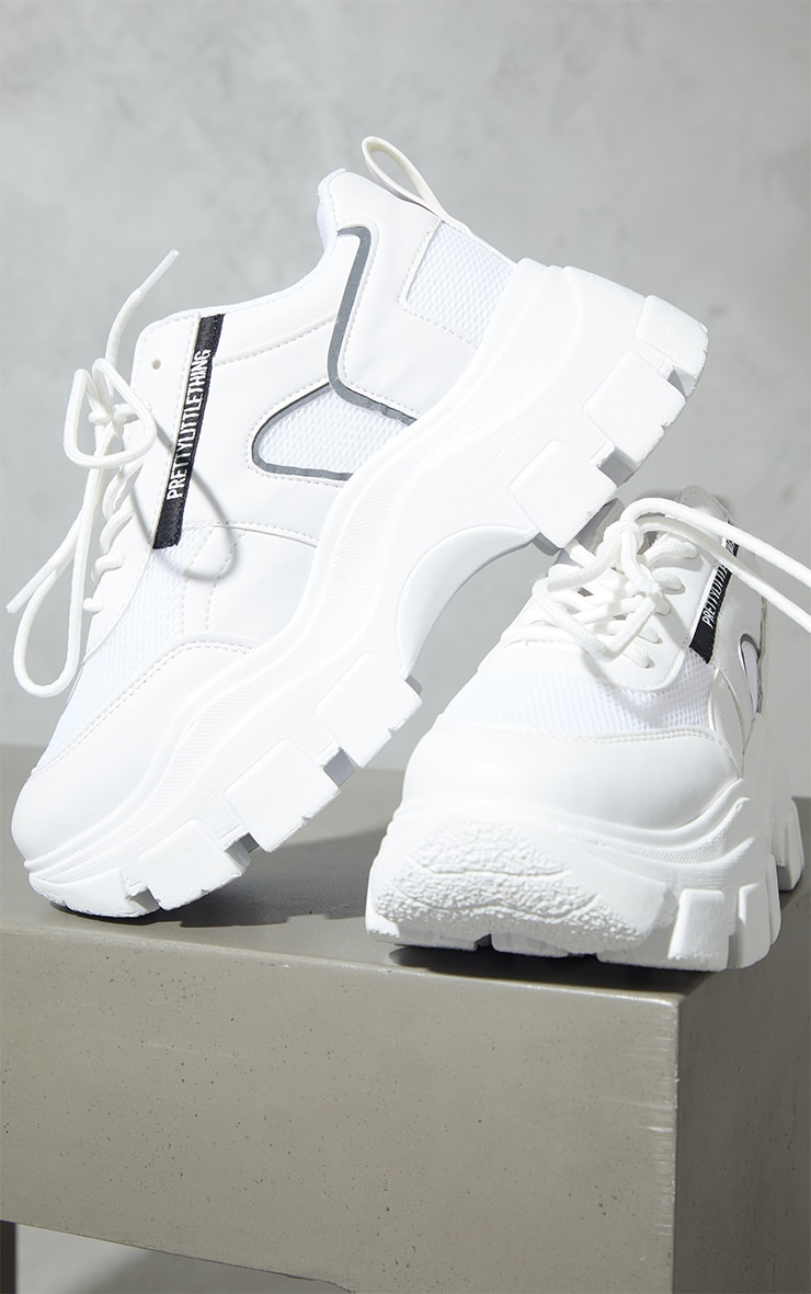 PRETTYLITTLETHING White PU Contrast Mesh Cleated Chunky Sole Sneakers 3