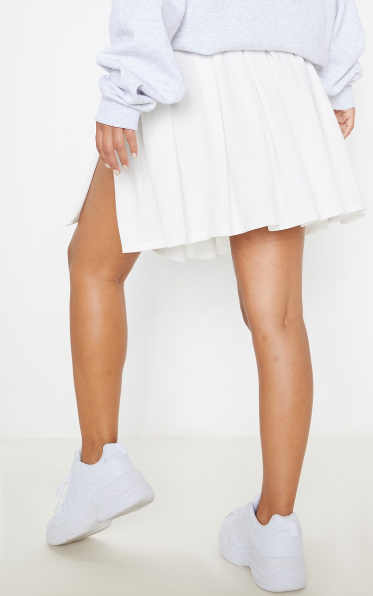 Petite White Pleated Side Split Tennis Skirt 4