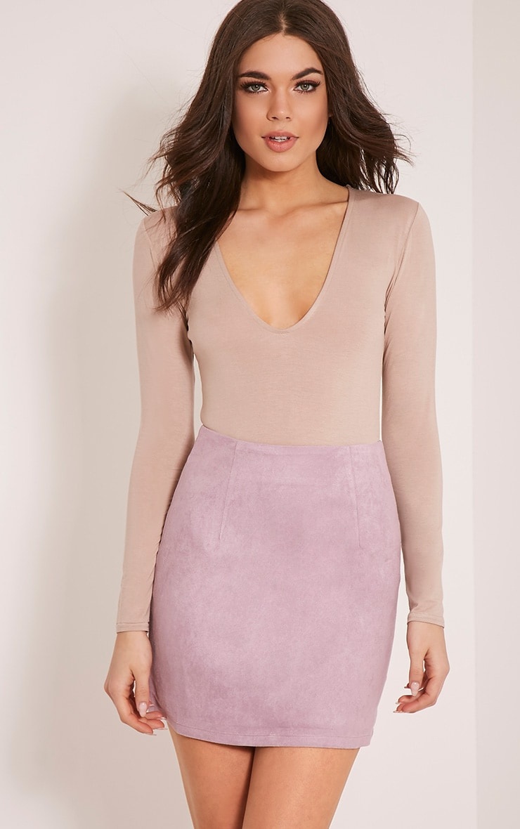 Lauree Lilac Faux Suede Mini Skirt 1