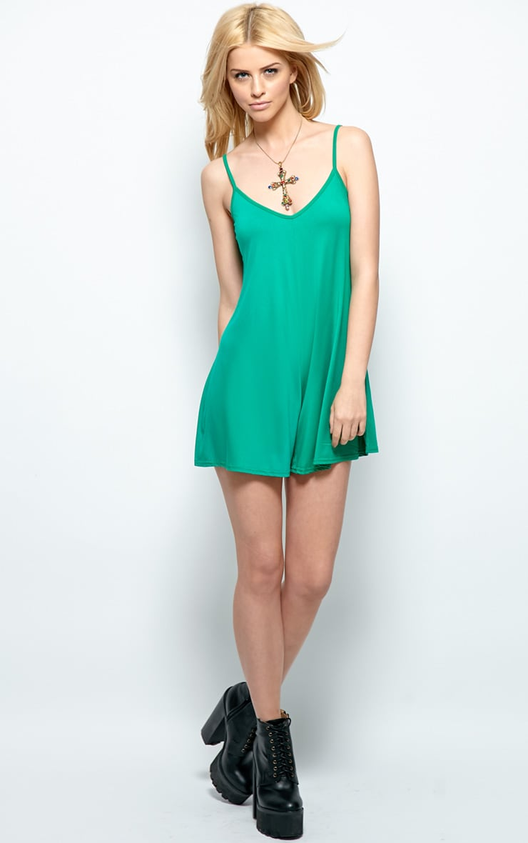 Isabel Green Strappy Swing Playsuit 4