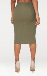 cadca246036f95 Shape Khaki Ribbed Midi Skirt   Curve   PrettyLittleThing