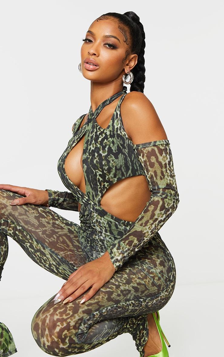 Shape Green Animal Print Mesh Halterneck Cut Out Jumpsuit 4