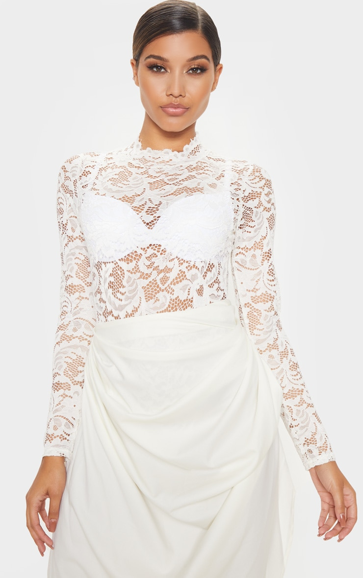 White Sheer Lace Scallop Detail Bodysuit 1