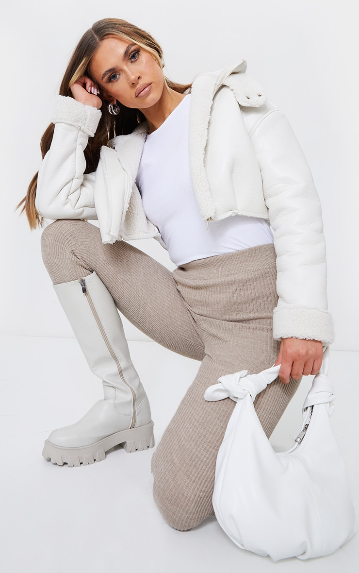 Cream Faux Leather Borg Lined Super Cropped Aviator Jacket 1
