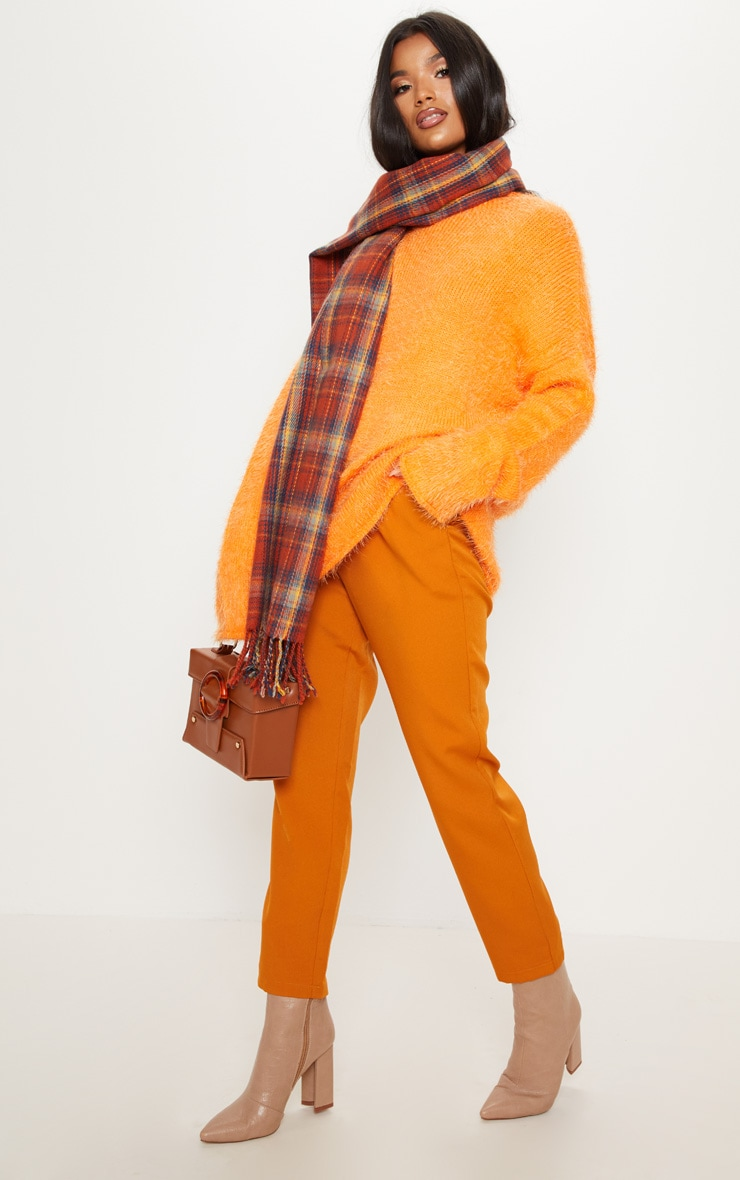 Orange Oversized Eyelash Jumper 1