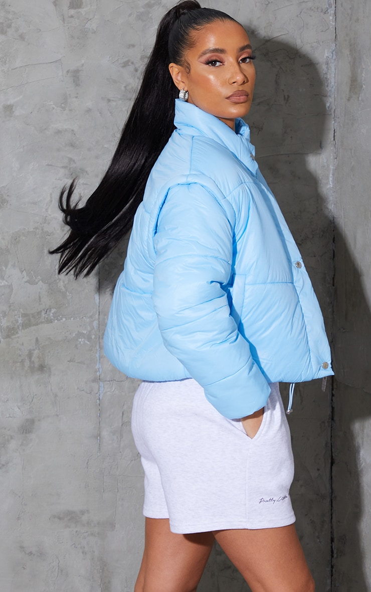 Light Blue Detachable Arm Gilet Puffer Jacket 2