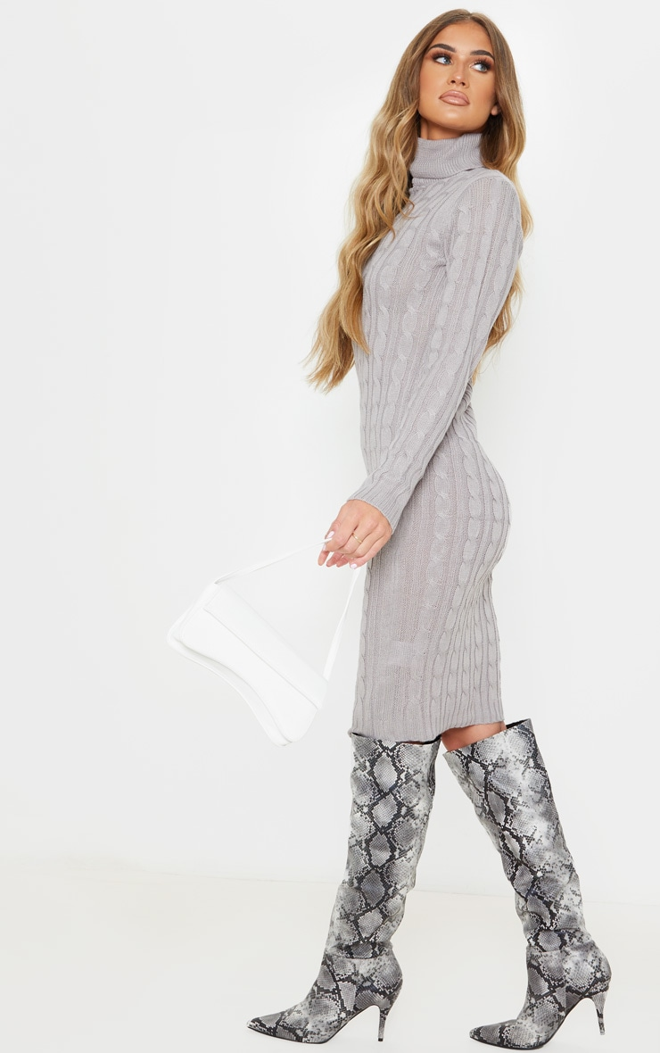 Grey Cable Knit Roll Neck Knitted Midi Dress 4