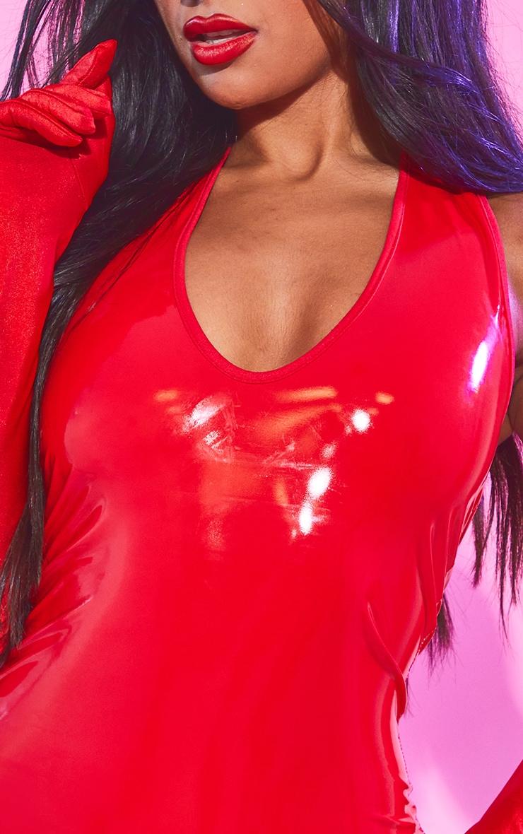 Red Vinyl Halterneck Bodycon Dress 4