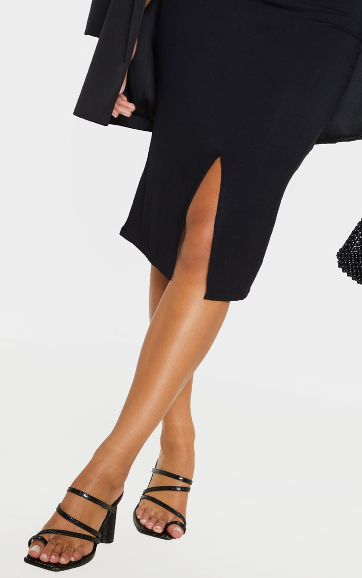 Black Split Front Strappy Midi Dress 5