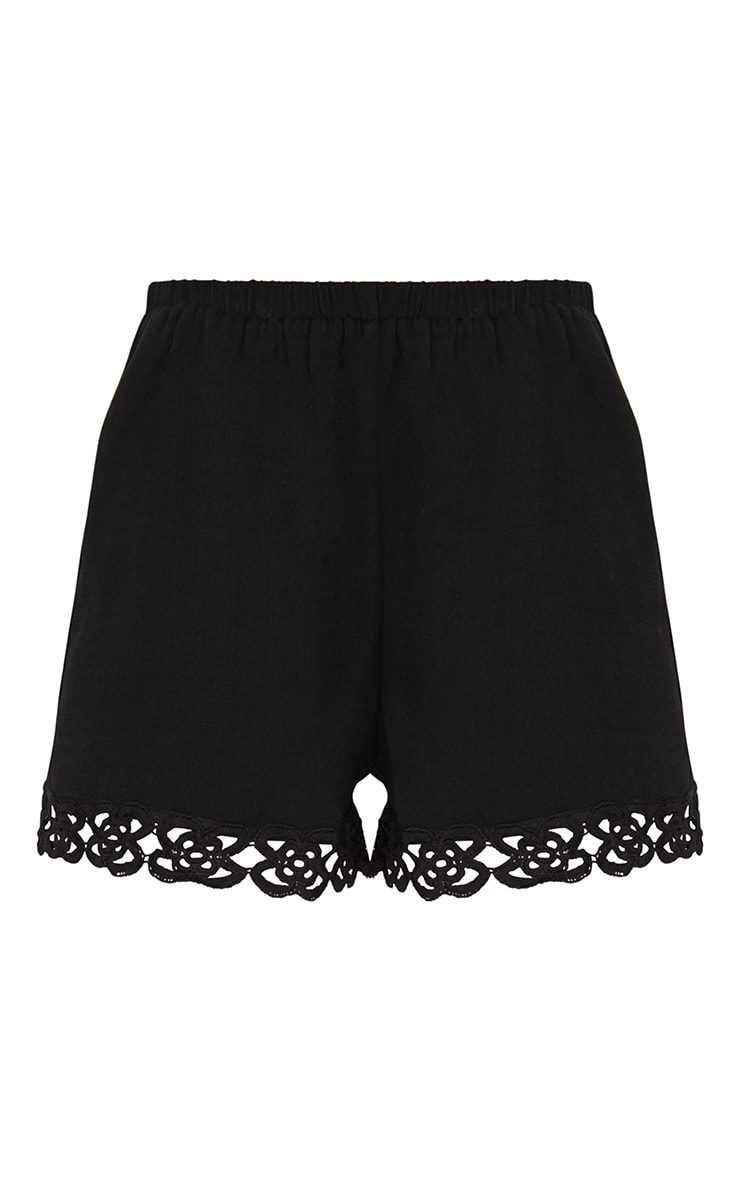 Petite Black Crochet Trim Shorts 3