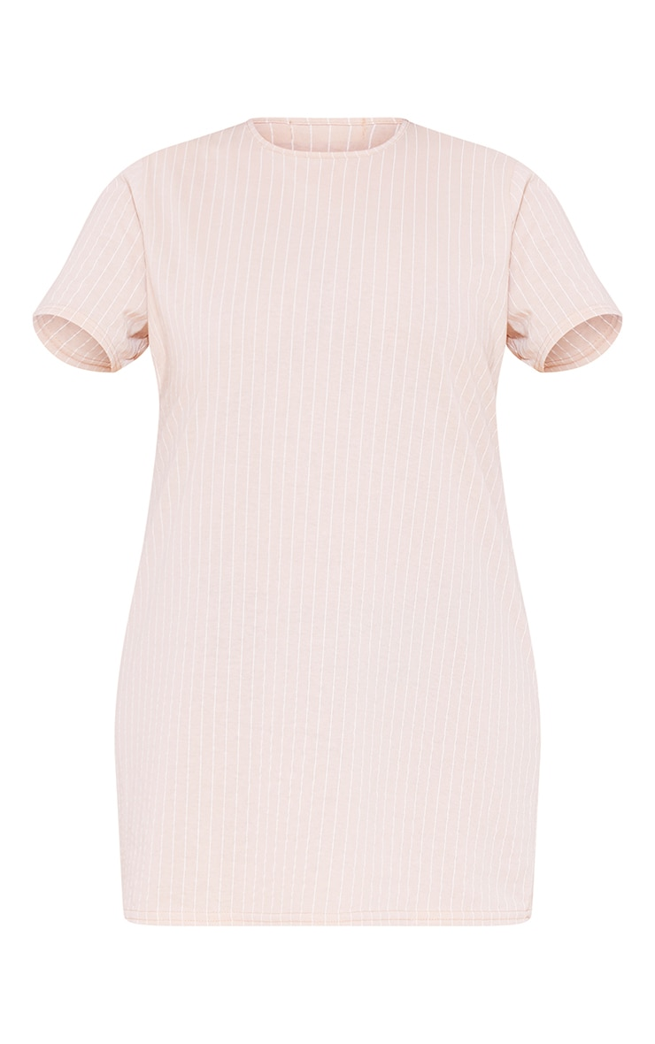 RECYCLED Plus Deep Nude Pinstripe T Shirt Dress 3