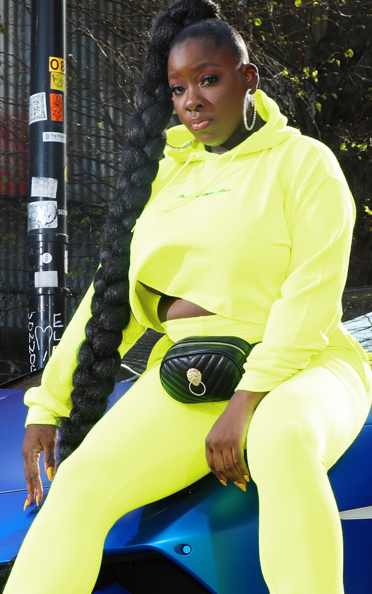PRETTYLITTLETHING Plus Neon Lime Embroidered Crop Hoodie 1