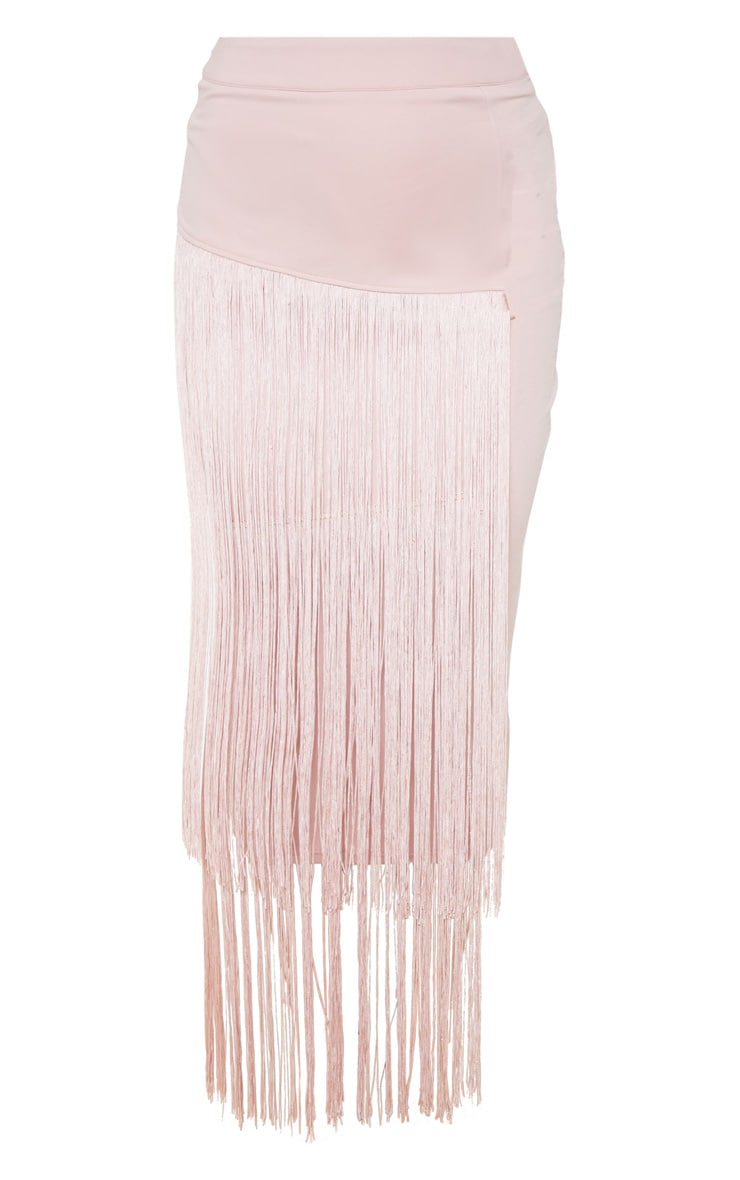 Pale Pink Fringe Detail Tiered Midaxi Skirt 3