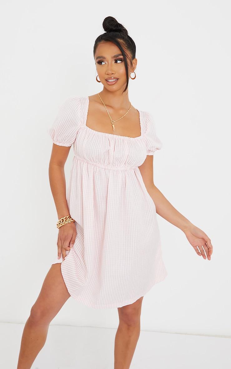Petite Pink Gingham Puff Sleeve Mini Dress image 1