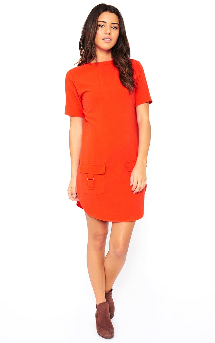 Anastasia Orange Pocket Front Shift Dress 3