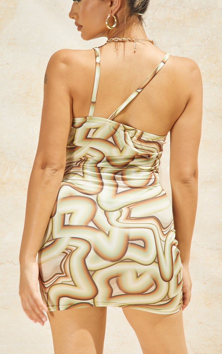 Petite Green Geo Print Strappy Square Neck Bodycon Dress 4