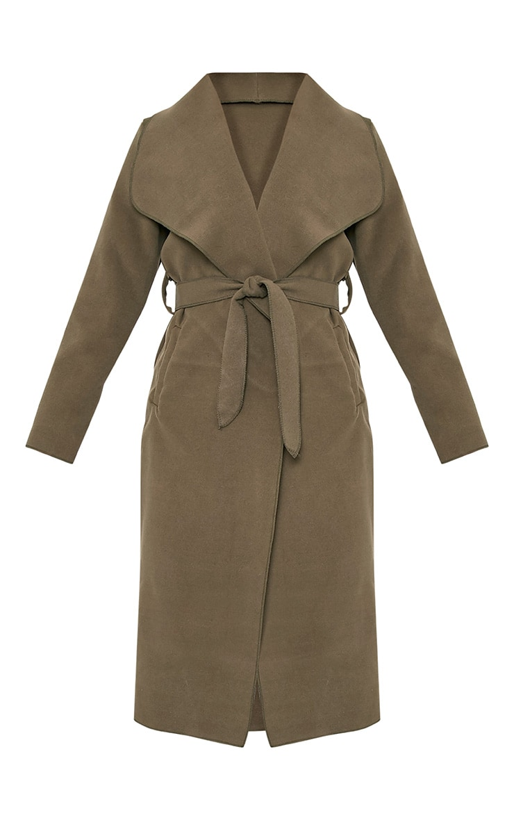 Veronica Khaki Oversized Waterfall Belt Coat 3