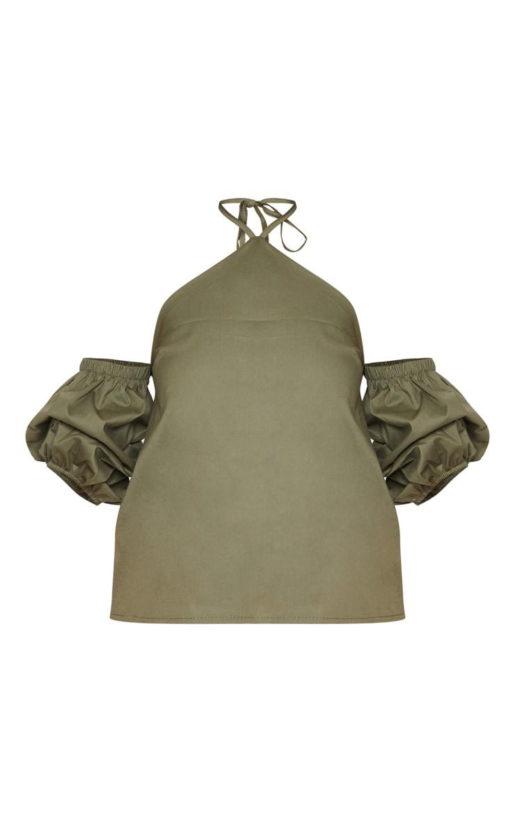 Khaki Halterneck Bardot Blouse 3