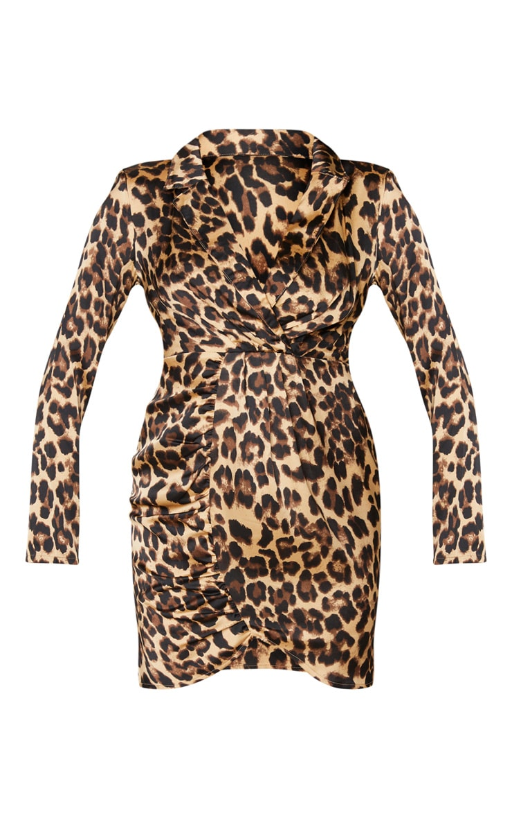 Brown Satin Leopard Print Ruched Front Blazer Style Bodycon Dress 5