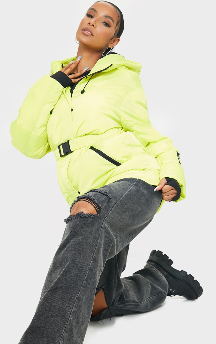 Yellow Quilted Belted Cuffed Sleeve Puffer Coat. 3