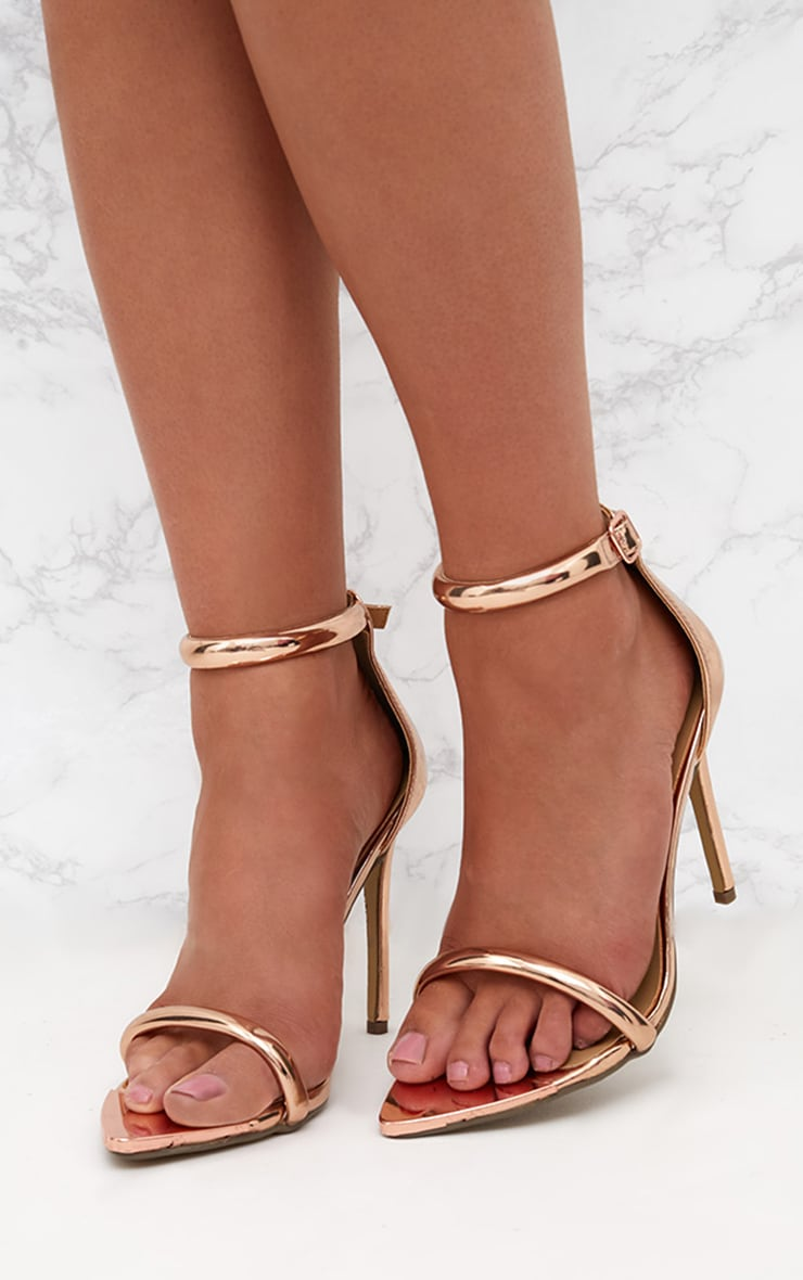 Rose Gold Pointed Toe Strappy Heels 2