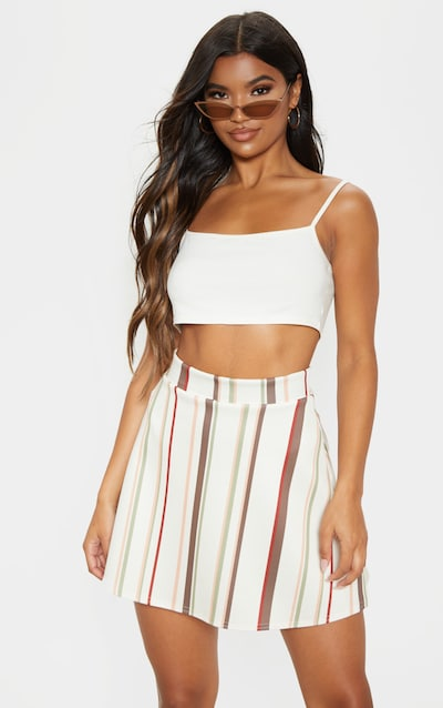 Stone Scuba Stripe A Line Skirt