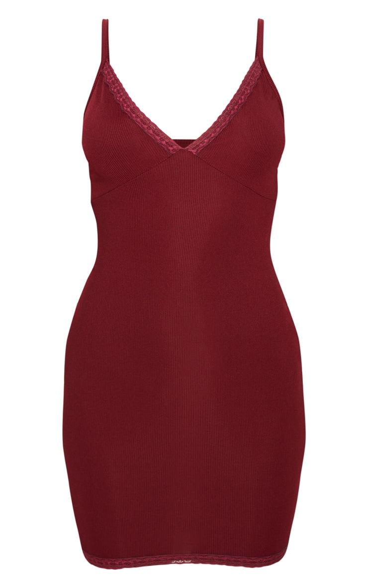 Robe moulante côtelée rouge écarlate à ourlet dentelle 3