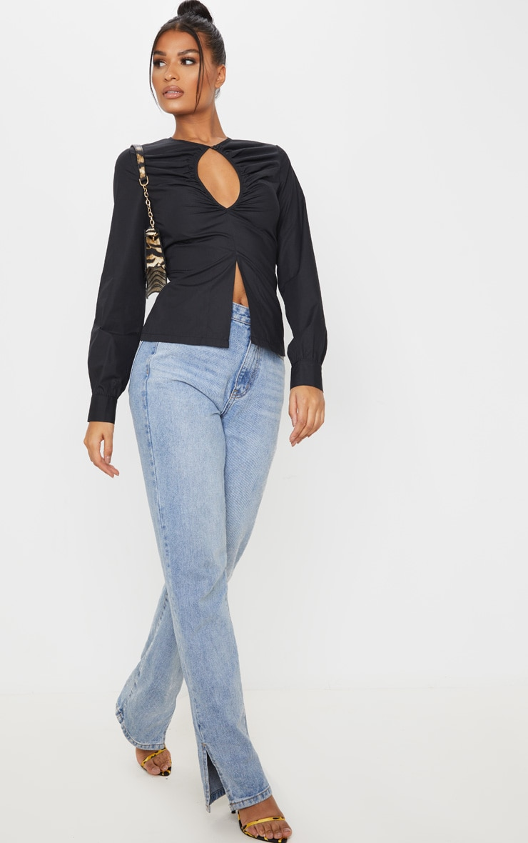 Black Ruched Keyhole Fitted Shirt 4