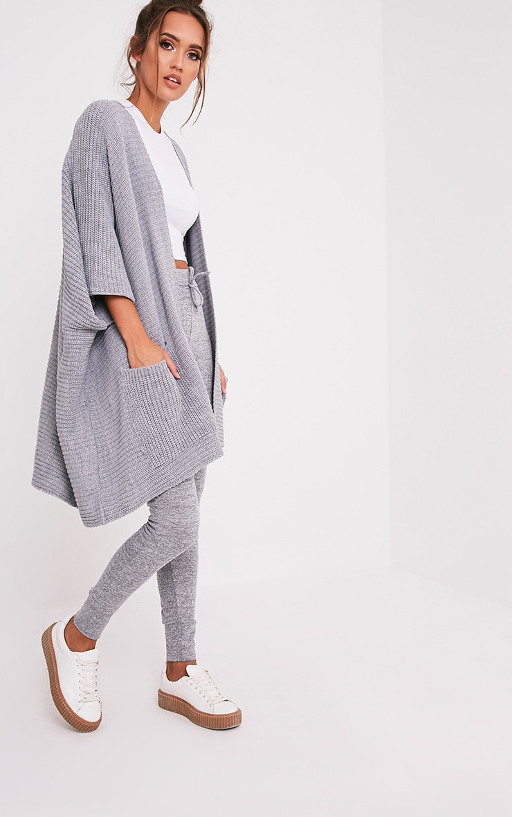Grey Chunky Knit 3/4 sleeve Wrap Cardigan 4