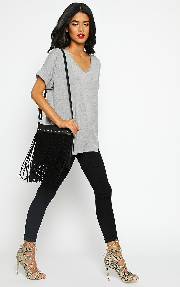 Celise Black Suedette Tassel Bag 2