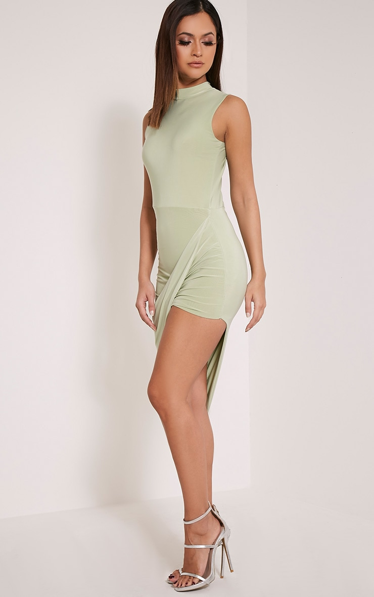 Prim Sage Green Slinky Drape Asymmetric Dress 4
