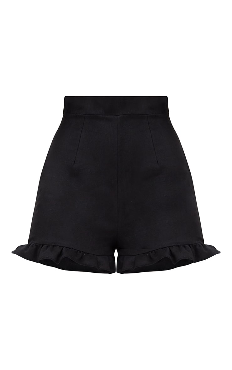 Black Faux Suede Frill Hem Shorts 3