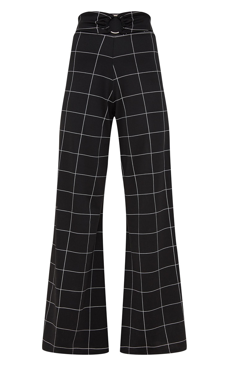 Black Window Check Belted Wide Leg Trousers 3