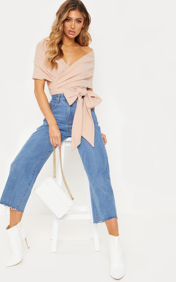 Dusty Pink Bandeau Wrap Front Crop Top 1