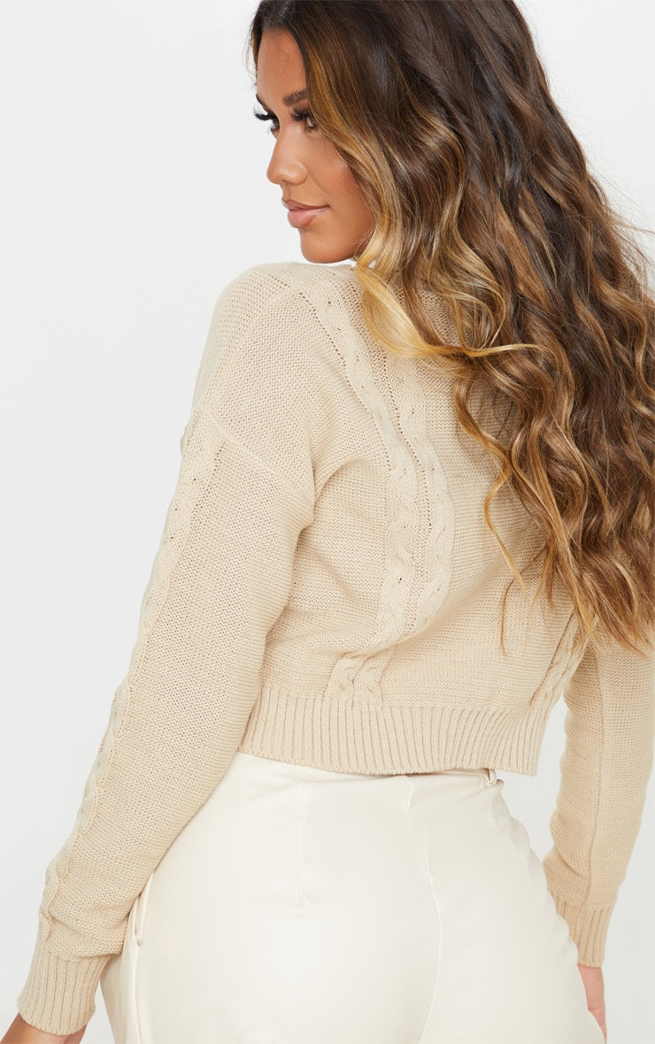 Stone Cable Detail Cropped Sweater 2