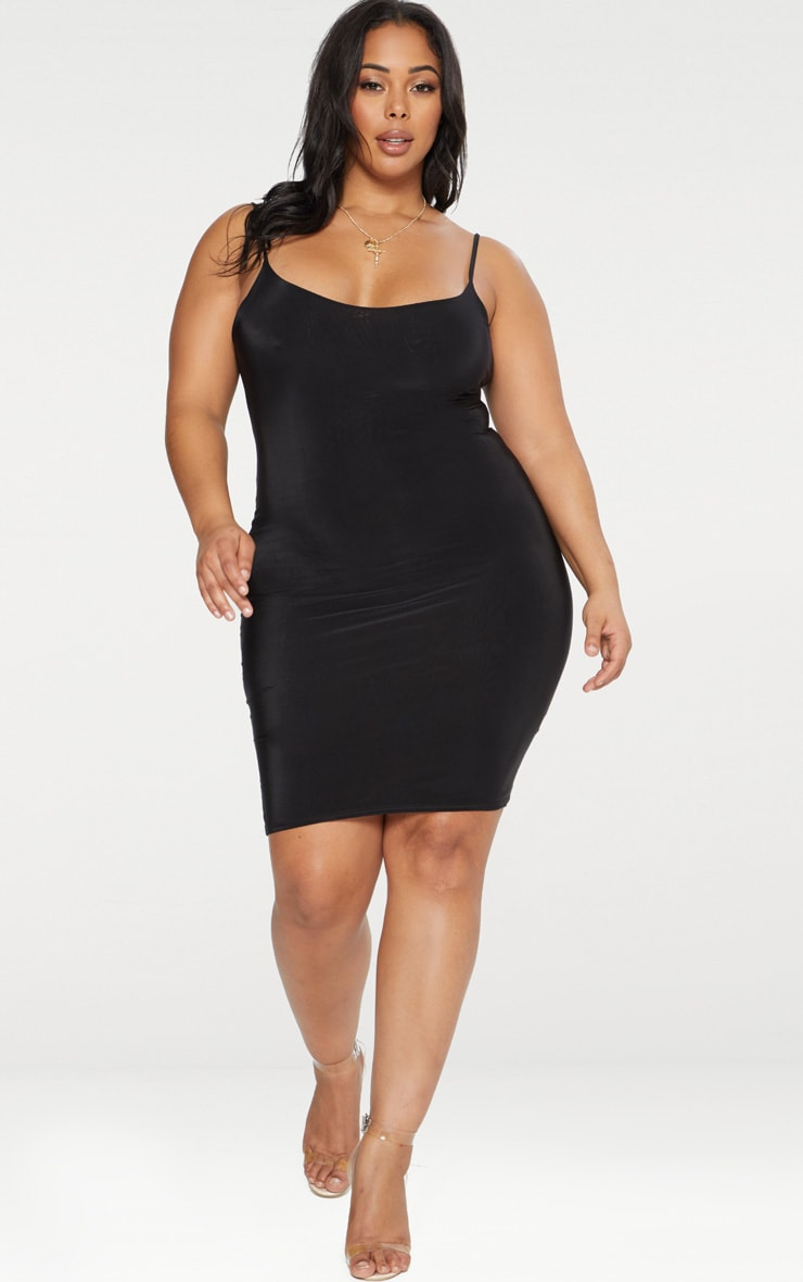 Plus Black Second Skin Slinky Strappy Midi Dress 4