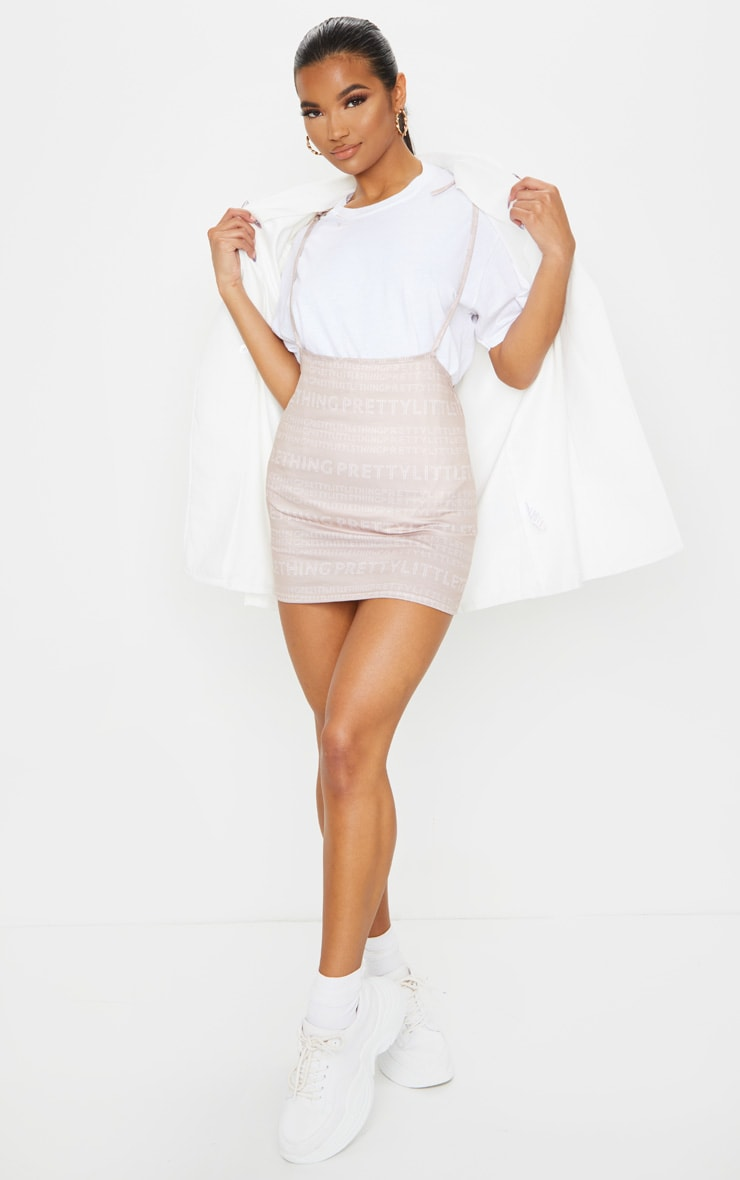 PRETTYLITTLETHING Nude Print Tie Shoulder Jersey Pinafore Dress 1