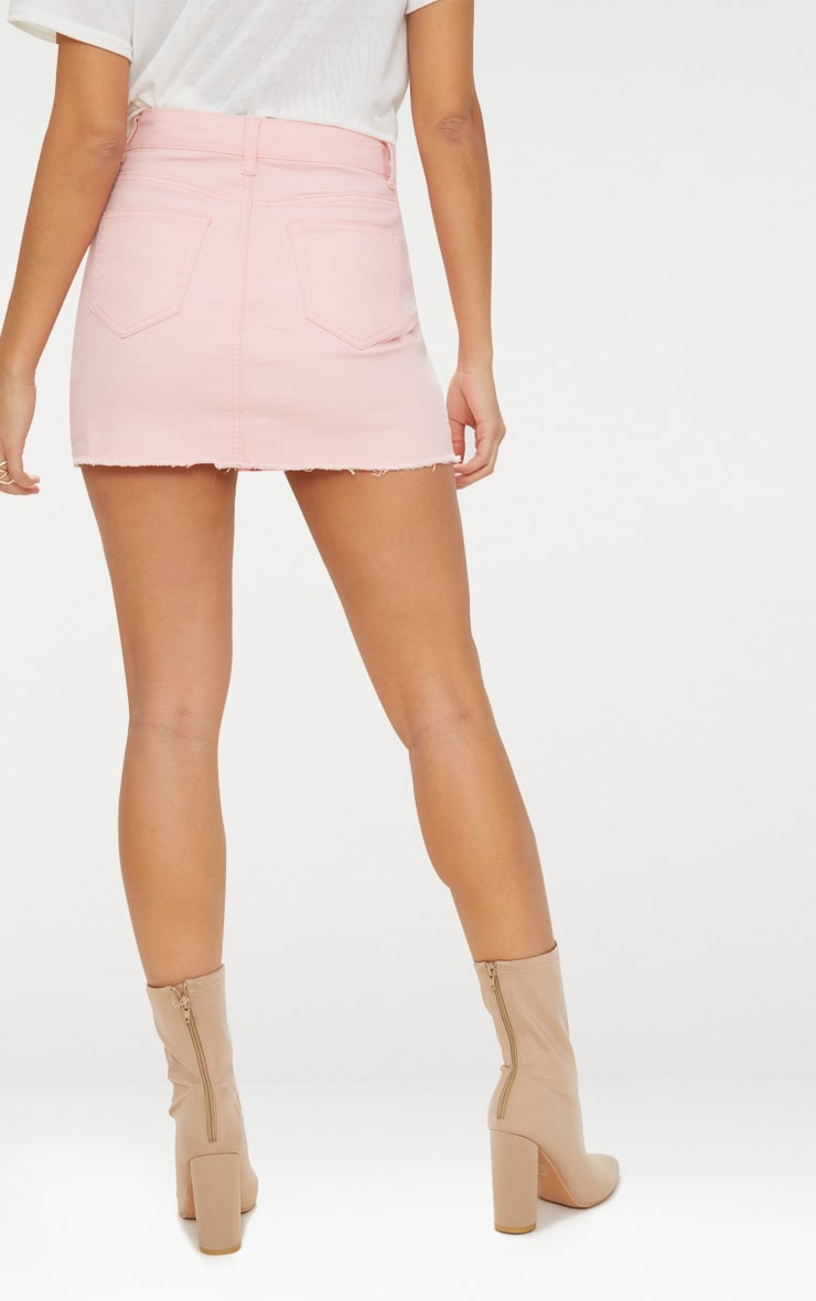 Baby Pink Distressed Denim Mini Skirt 4