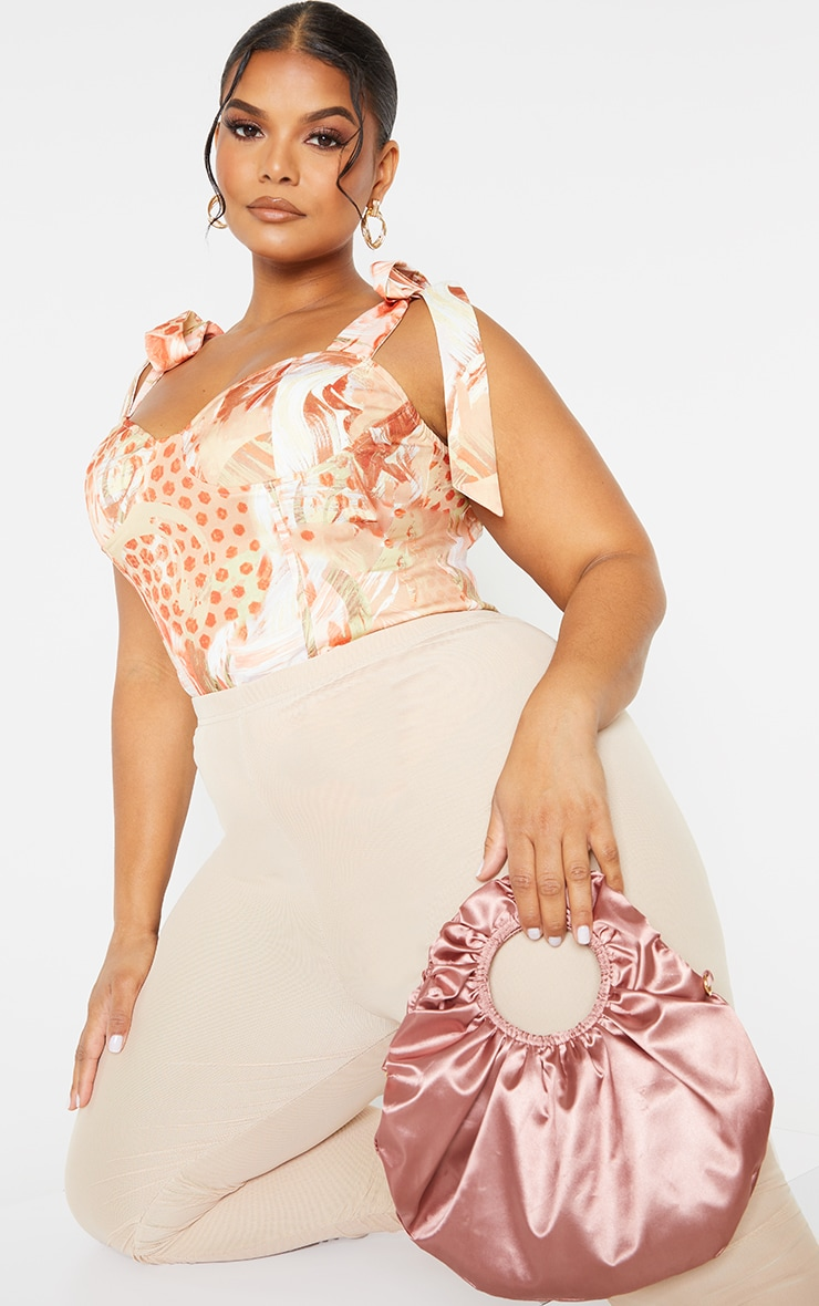 Plus Beige Marble Abstract Print Bow Ties Corset Top 3