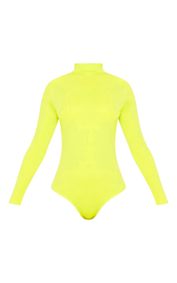 Neon Lime High Neck Jersey Long Sleeve Bodysuit  3