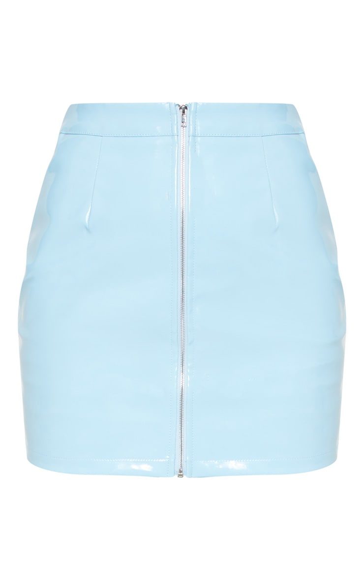 Baby Blue Vinyl Mini Skirt 4