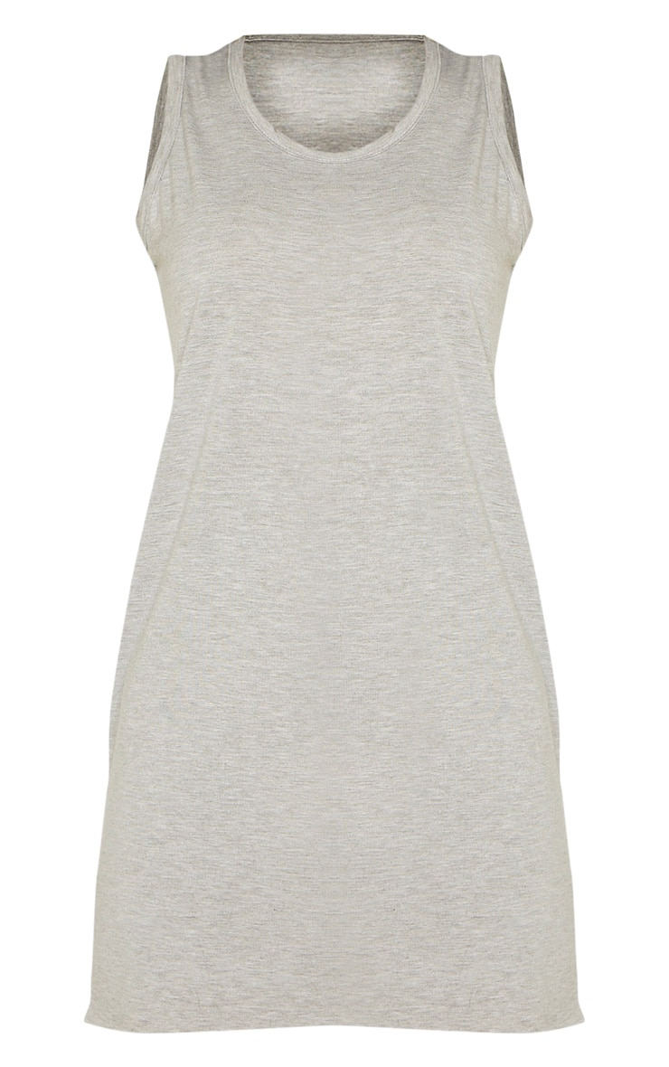 Grey Sleeveless Raw Edge Split T Shirt Dress 3