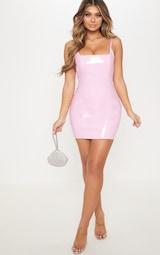 Baby Pink PU Bodycon Dress 4