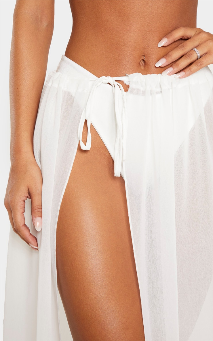 White Adjustable Maxi Beach Skirt 4