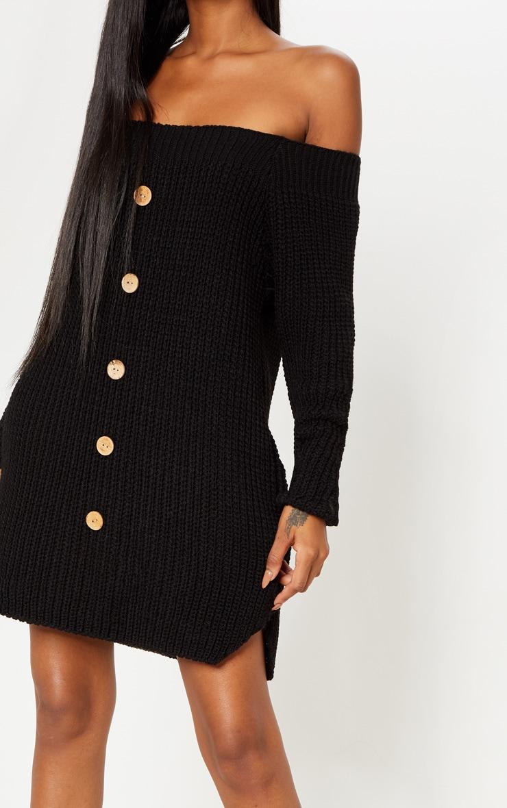 Black Knit Bardot Button Detail Jumper Dress 4
